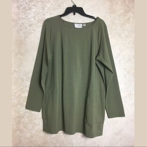 Linea Leisure Size XL Green Long Top Tunic Pockets